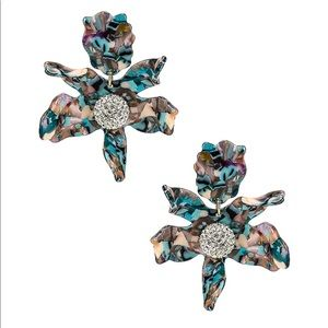 Lele Sadoughi crystal lily earrings in turquoise